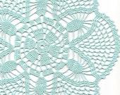 Crochet doily, lace doily, table decoration, crocheted place mat, centre piece,doily tablecloth, table runner, napkin, aqua, blue