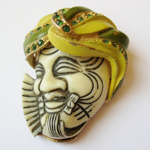 Vintage 50s 60s Signed SELRO Designer Figural Indian Man's Head Turban Rhinestone Brooch Pin