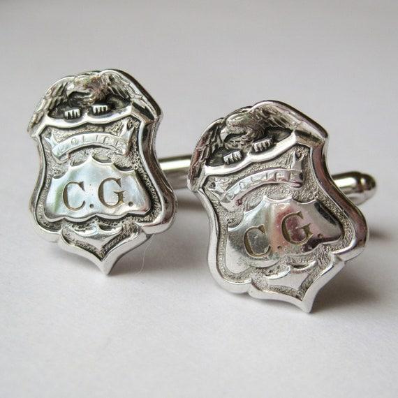 Vintage 50s Police Department Policeman Badge Detective Silver Cufflinks