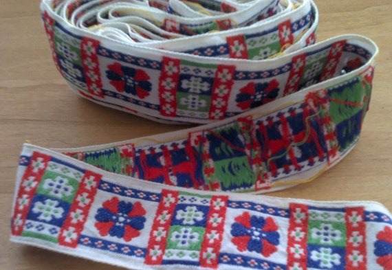 Jacquard Ribbon Trim Geometric 1 1/2 Inch Wide 5 Yards L0376 Red, Green, Blue