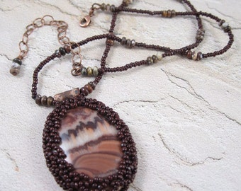 Brown Necklace - Beadwoven Stone