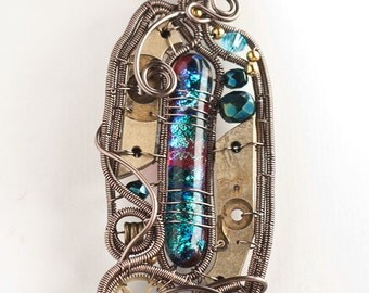 OOAK Steampunk fused dichroic glass wire wrapped pendant