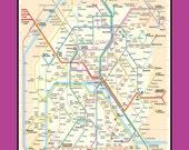 Paris Metro Tube Subway Map 16x20