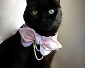 Pet's Pearl chains Peter-pan Collar with Bow-tie for dogs or cats, PU leashable collar included