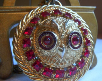 Lucien Piccard Owl Pendant Necklace with Red Rhinestones - Couture