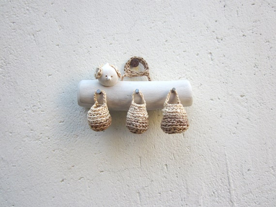 Miniature Elfs wall hanger with a bird , rustic home decor