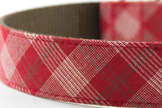 Red Plaid Dog Collar