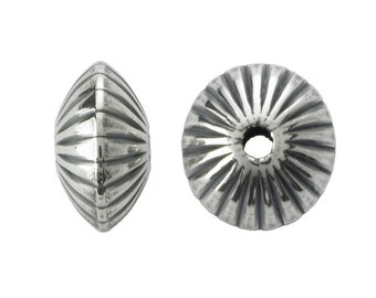 10 Sterling Silver 4.5mm Oxidized Corrugated Saucer Bead
