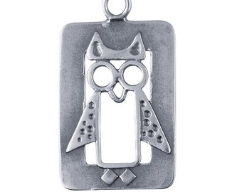 Sterling Silver 25 x 15mm Owl Component, Pendant