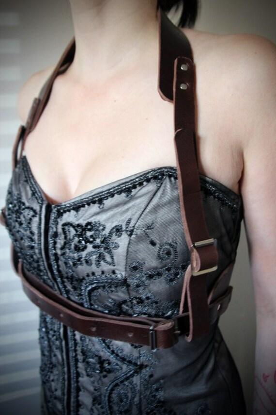 Leather Halter neck Brace Set - steampunk - burning man - festivals - bellydance