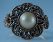 Victorian/ Edwardian Faux Pearl and Tombak Costume Ring size 6 Signed Czechoslov