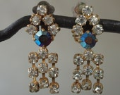 Earrings Blue Aurora Borealis and Clear Rhinestones Fringe Czech 60's Mad Men Clip On Earrings