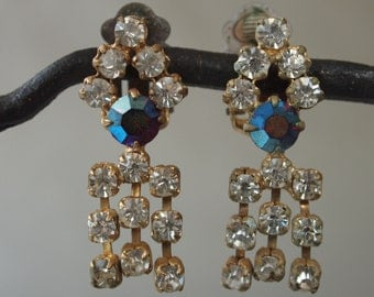 Czech Earrings Blue Aurora Borealis and Clear Rhinestones Fringe 60's Mad Men Clip On