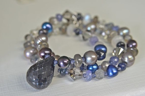 Blue Sapphire Necklace with Labradorite , Pearls , Crystals , Moonstone and Tanzanite for Women