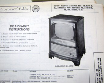1958 Zenith TV Television 50s Boob Tube Photo Repair Manual