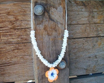 Orange Poly Clay Flower Necklace