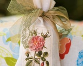 Lavender Sachet / Botanical Rose on Linen Bag Sachet / Lavender