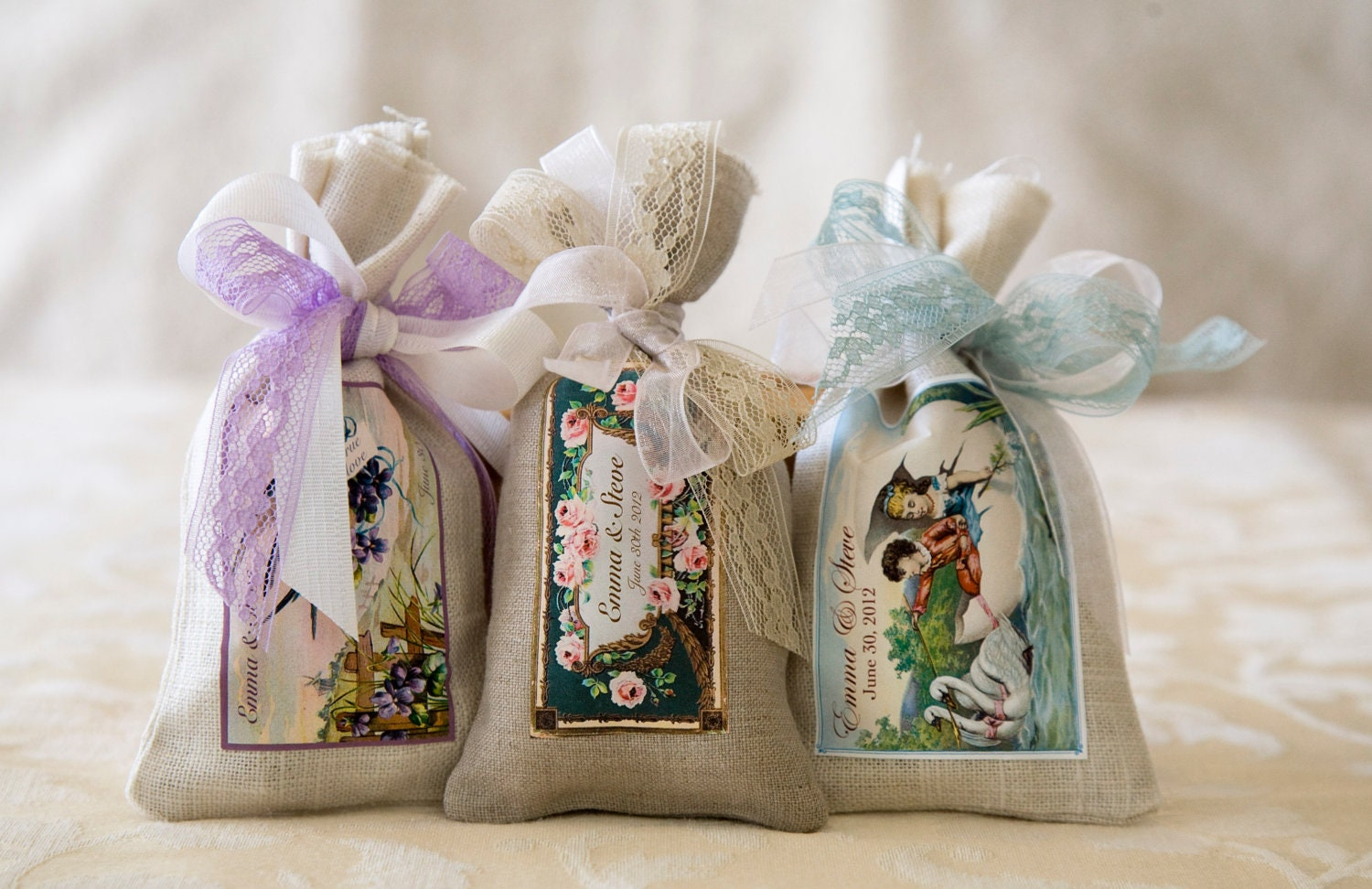 Custom Wedding Favor Sachets / Vintage Soap by ThePlumberryShop