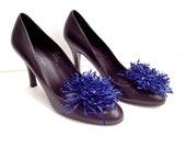 "Dark Blue  Flower Leather Suede Shoe Clips 4"" Hand Made by Zulya"