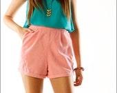 Bubblegum Corduroy High Waist Bombshell Retro Mini Shorts--XS/S