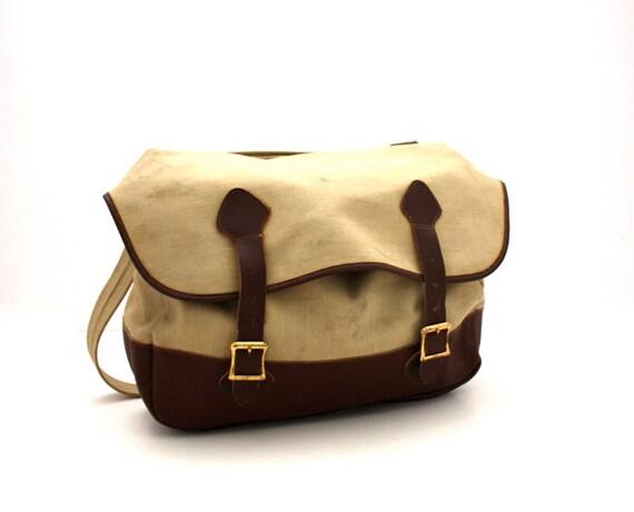 Vintage Urban SAFARI L.L. Bean Canvas & Leather School Bag Laptop Case