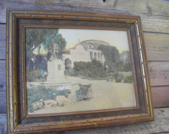 1900's Hand Colored picture framed