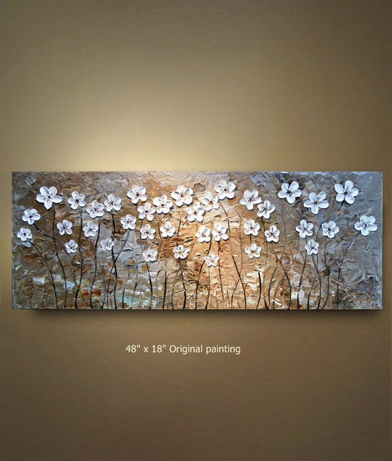 ORIGINAL 48x18 White Flower Abstract Painting  tan Floral Impasto Landscape Artwork Textured Modern Contemporary art by OTO