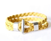 Suede Leather Braided Bracelet - Yellow
