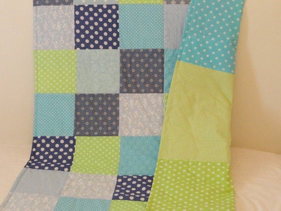 SALE - Baby boy quilt blanket blue and green baby and toddler quilt