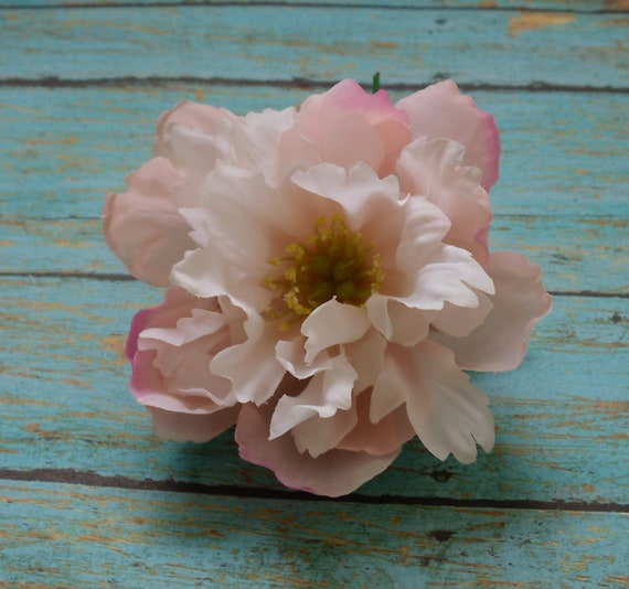 Silk Flowers - One Small Light Pink and White Peony - 3.25 Inches - Artificial Flowers