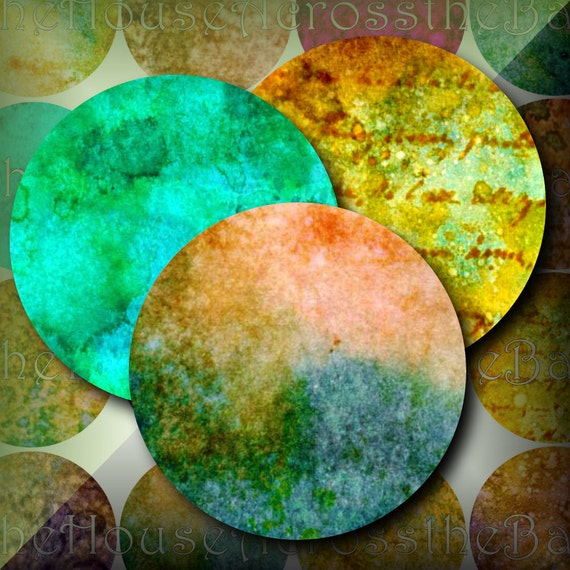 Inked Grunge 2 inch Circles Digital Collage Printable Instant Download Images for Decoupage Coasters Magnets Paperweights