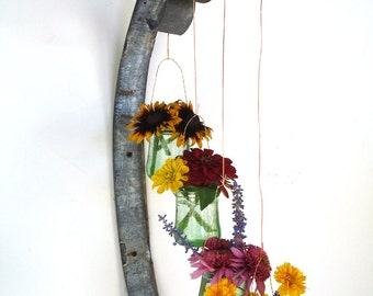 "VESSEL - ""Quad"" -  Wall Hanging Wine Barrel Ring Candle / Flower Holder  - 100% recycled"