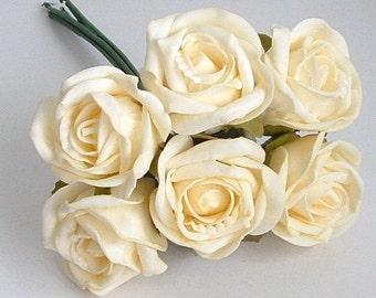Bunch of 6 Foam Rose Buds -  Ivory
