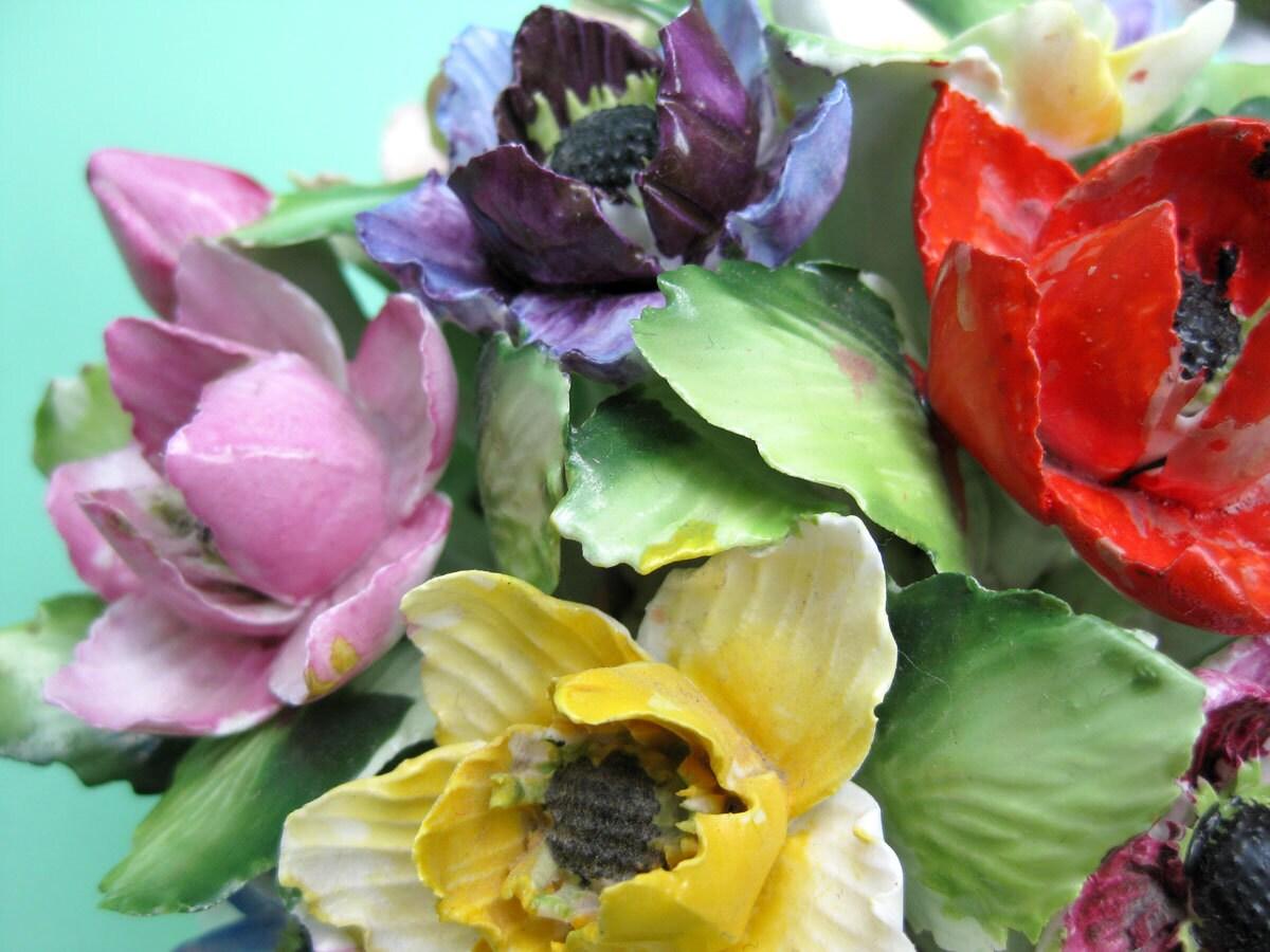 Huge 7 royal adderley bone china flower basket by aquamarinedream