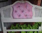 Vintage Upholstered Headboard Rhinestone Pink Velvet White Paint
