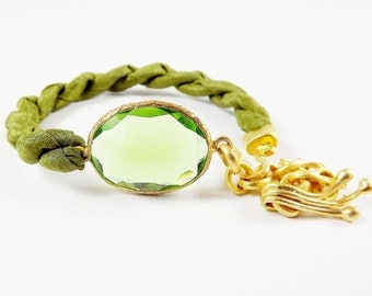 Clear / Translucent  Lime Green Quartz & Silk Turkish Stackable Bracelet - Gold Plated - Fall Fashion