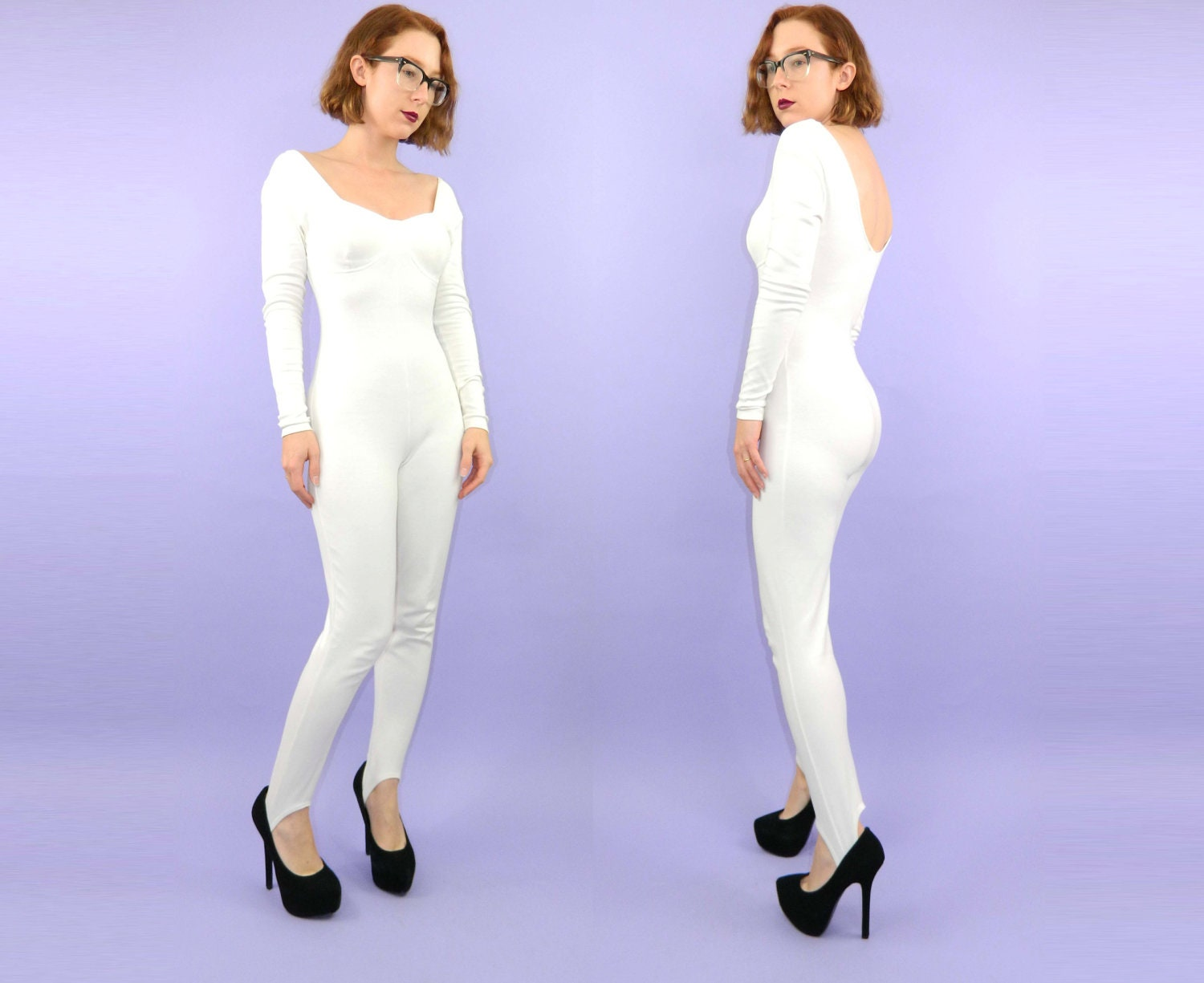 White Leotard 1990s Spandex Jumpsuit Long Sleeves Medium