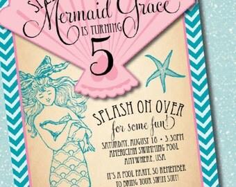 DIY Printable Vintage Mermaid Birthday Party Invitation