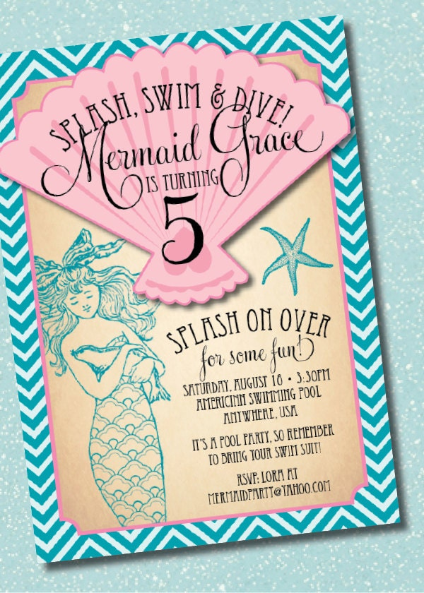 This is a photo of Bright Mermaid Birthday Invitations Free Printable