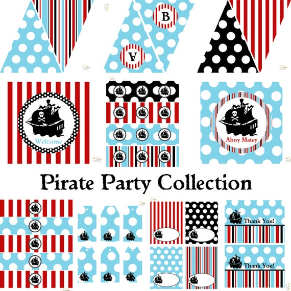 Pirate Birthday Party, Pirate Baby Shower, Pirate Birthday Decorations, Pirate Baby Shower Decorations, Pirate Party Decorations BeeAndDaisy