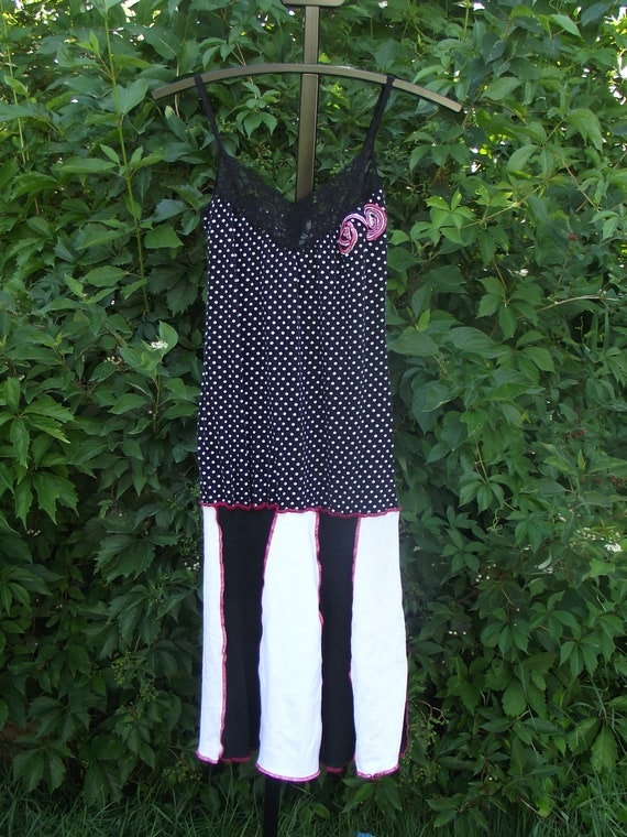 RESERVED for Micki  Dress Small Medium Black White Pink Lace Boho Bohemian Upcycled Clothing  Patchwork Hippie Handmade