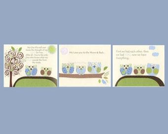 Baby boy, Nursery wall art Decor, Children Art print, owls...Set of 3 8x10, light blue light green owls