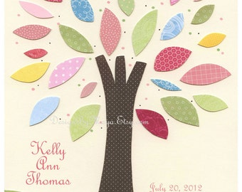 Birth Stats for Baby girl, Nursery Art Decor, Kids Print, personalized tree, light green and pink, vintage style