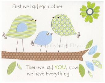 Baby boy, Nursery wall art, baby Decor, Children Art print, birds..First we had...green blue birds
