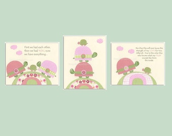 Baby girl, Nursery wall art print, Baby room decor, baby turtle, set of 3 8x10, match to the colors of Hayley bedding set, pink green