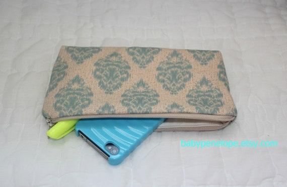 Pencil Case/Cosmetic Bag/ Gadget Case - Teal Damask
