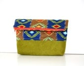foldover clutch in bold colors / boho / summer fashion / green suede