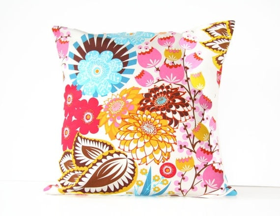 floral decorative throw pillow cover / loulouthi / 18 x 18  / reversible / dorm decor / fall home decor / brown red pink blue