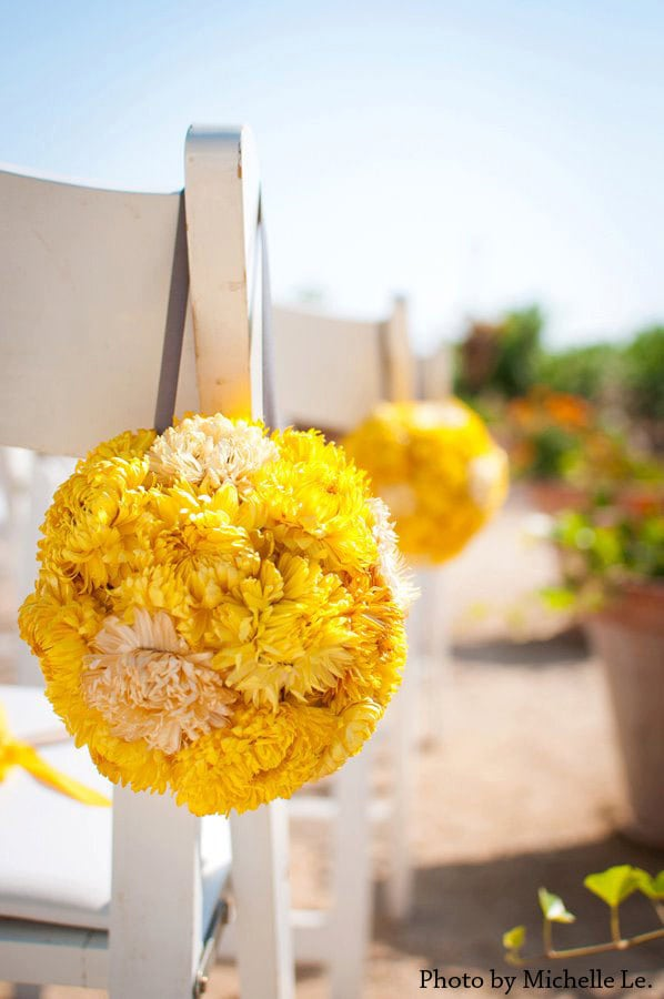 Ready to ship eco friendly two tone wedding pomander yellow Environmentally friendly decorations