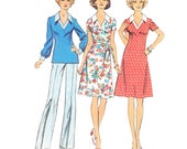 1970s Dress Vintage Pattern/UNCUT and FF Simplicity 6277/ Misses 70s Dress or Top and Pants Pattern/ Size 16.5